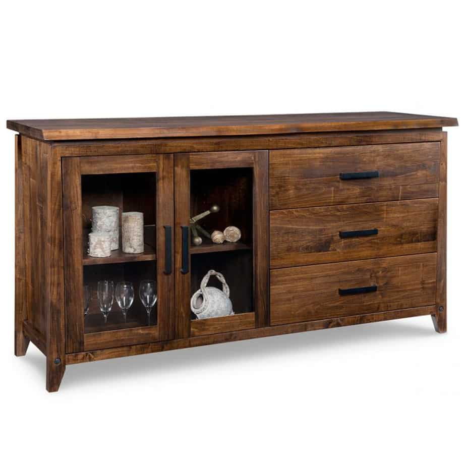 pemberton 2 glass door sideboard, solid wood, made in canada, handstone, rustic, modern, contemporary, storage cabinet, glass doors, metal accents, custom