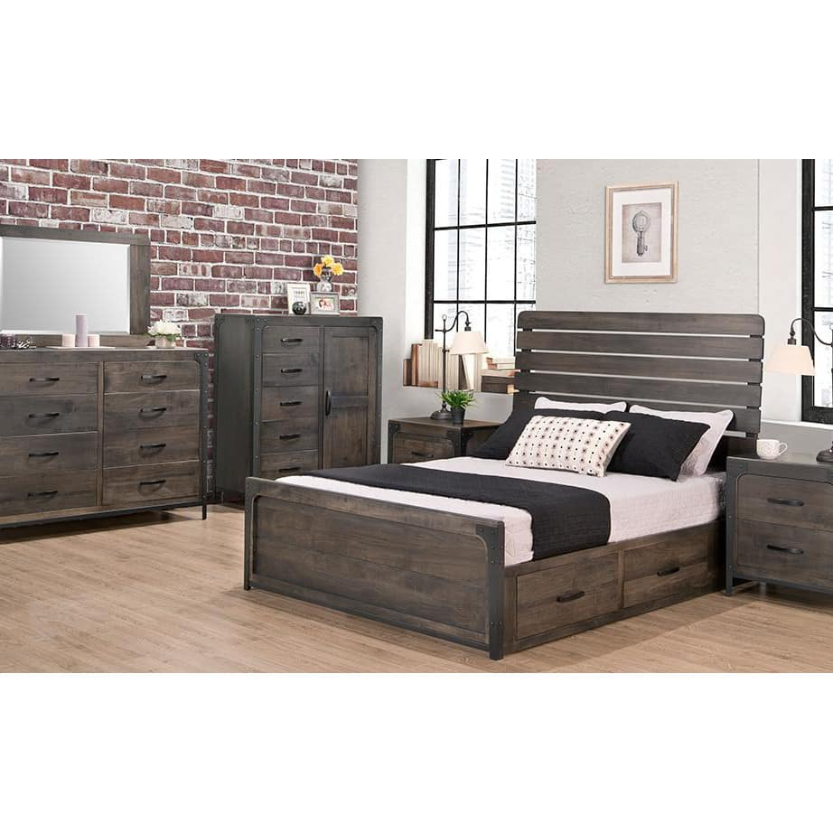 portland bedroom, handstone, solid wood, rustic wood, metal accents, modern, urban, contemporary, maple, rustic wood, dovetailed drawers, made in canada, canadian made, master bedroom, storage bed, drawers