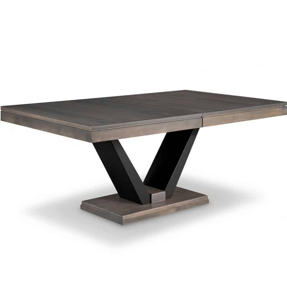 portland trestle table, solid wood, custom table, dining table, metal base, leaves, self storing leaf, extension table, contemporary table, modern, rustic, urban