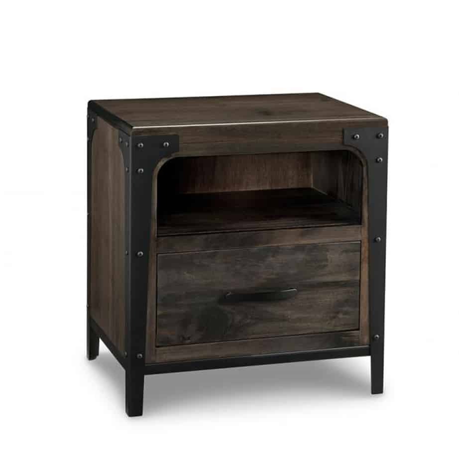 portland 1 drawer night stand, handstone, solid wood, rustic wood, metal accents, modern, urban, contemporary, maple, rustic wood, dovetailed drawers, made in canada, canadian made