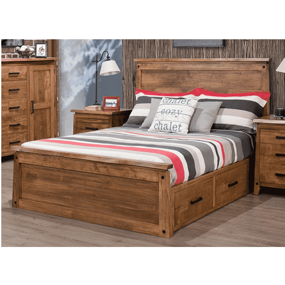 handstone, made in canada, solid wood furniture, rustic furniture, modern furniture, craftsman furniture, live edge furniture, amish style furniture, pemberton bedroom 2, bedroom furniture ideas, bedroom design, bedroom furniture, pemberton bed storage bed, drawer bed, bed with drawers