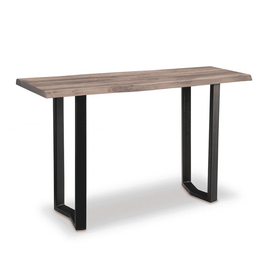 handstone, made in canada, solid wood furniture, rustic furniture, modern furniture, craftsman furniture, live edge furniture, amish style furniture, shelving, office furniture ideas, metal furniture, pemberton live edge sofa table