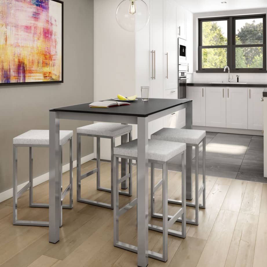 custom stool, metal, iron, steel, fabric, leather, distressed wood, solid birch, traditional, modern, urban, rustic, bar, pub, counter, island, kitchen, amiss, made in canada, aaron stool