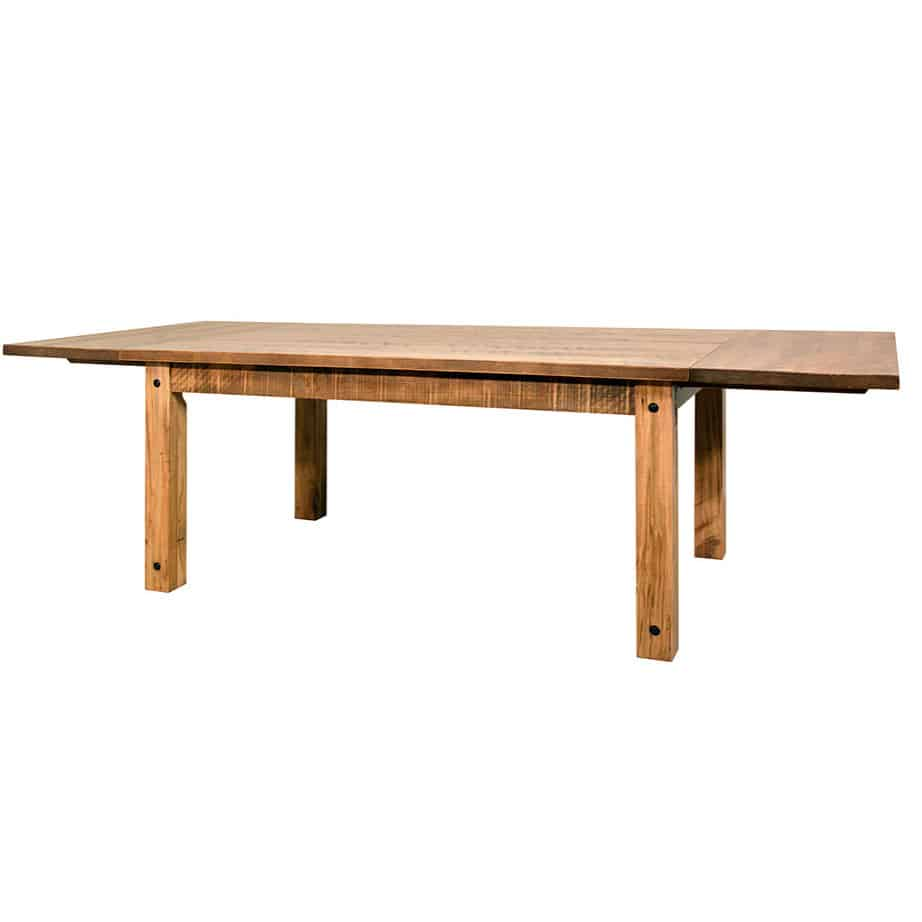 contemporary, distressed, extension table, farmhouse, industrial, leaf, leaves, made in canada, maple, modern, ruff sawn, rustic, solid top, solid wood, Dining Room, Tables, Trestle Tables, rustic wood kitchen furniture, modern kitchen furniture, kitchen furniture, custom built kitchen furniture, Adirondack Table, Adirondack, Table, Adirondack Table - Leaves