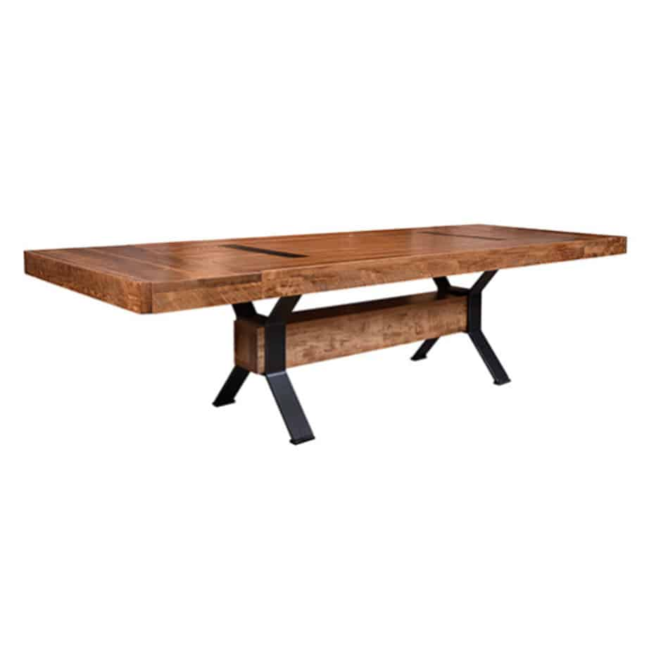 contemporary, distressed, extension table, farmhouse, industrial, leaf, leaves, made in canada, maple, modern, ruff sawn, rustic, solid top, solid wood, Dining Room, Tables, Trestle Tables, rustic wood kitchen furniture, modern kitchen furniture, kitchen furniture, custom built kitchen furniture, Arthur Phillipe Table, Arthur Phillipe, Table, Arthur Phillipe Table - Leaves