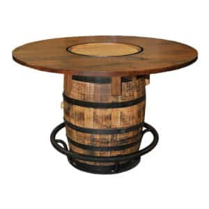 pub table, Barrel Pub Table, rustic, industrial, man cave, basement, bar furniture, whiskey barrel, games room, solid wood table