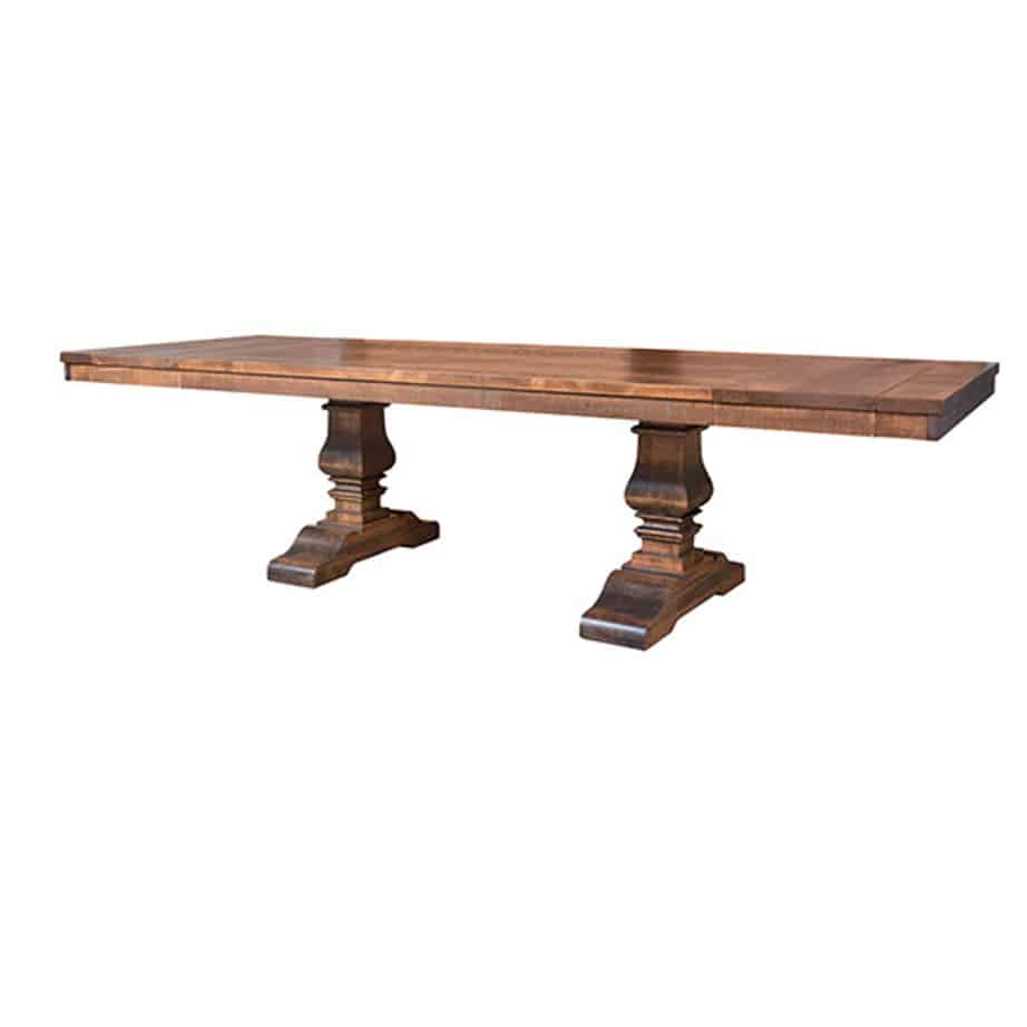 contemporary, distressed, extension table, farmhouse, industrial, leaf, leaves, made in canada, maple, modern, ruff sawn, rustic, solid top, solid wood, Dining Room, Tables, Trestle Tables, rustic wood kitchen furniture, modern kitchen furniture, kitchen furniture, custom built kitchen furniture, Heritage Table, Heritage, Table, Heritage Table - Leaves