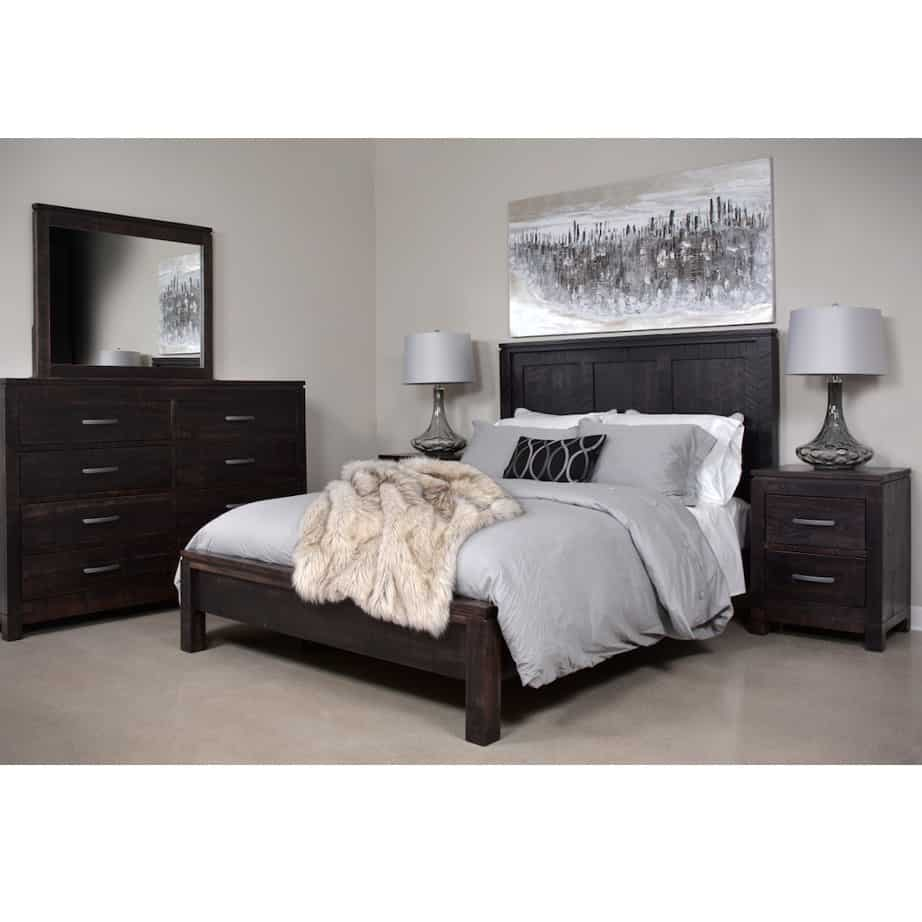 solid wood bed, rustic furniture, made in canada, canadian made, rustic bedroom, queen, king, distressed wood, ruff sawn, lexington bed