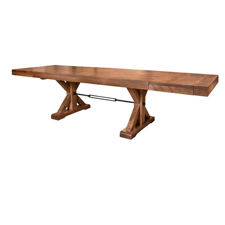 contemporary, distressed, extension table, farmhouse, industrial, leaf, leaves, made in canada, maple, modern, ruff sawn, rustic, solid top, solid wood, Dining Room, Tables, Trestle Tables, rustic wood kitchen furniture, modern kitchen furniture, kitchen furniture, custom built kitchen furniture, Shore Table, Shore, Table, Shore Table - Leaf