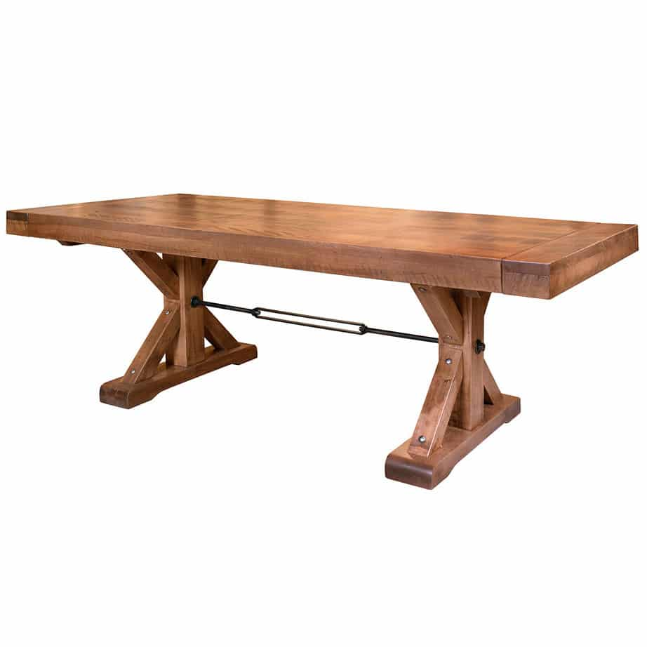 shore table, ruff sawn, solid wood table, trestle table, leaf table, rustic table, canadian made, solid wood furniture, amish table, rustic wood table, solid maple, ruff sawn maple