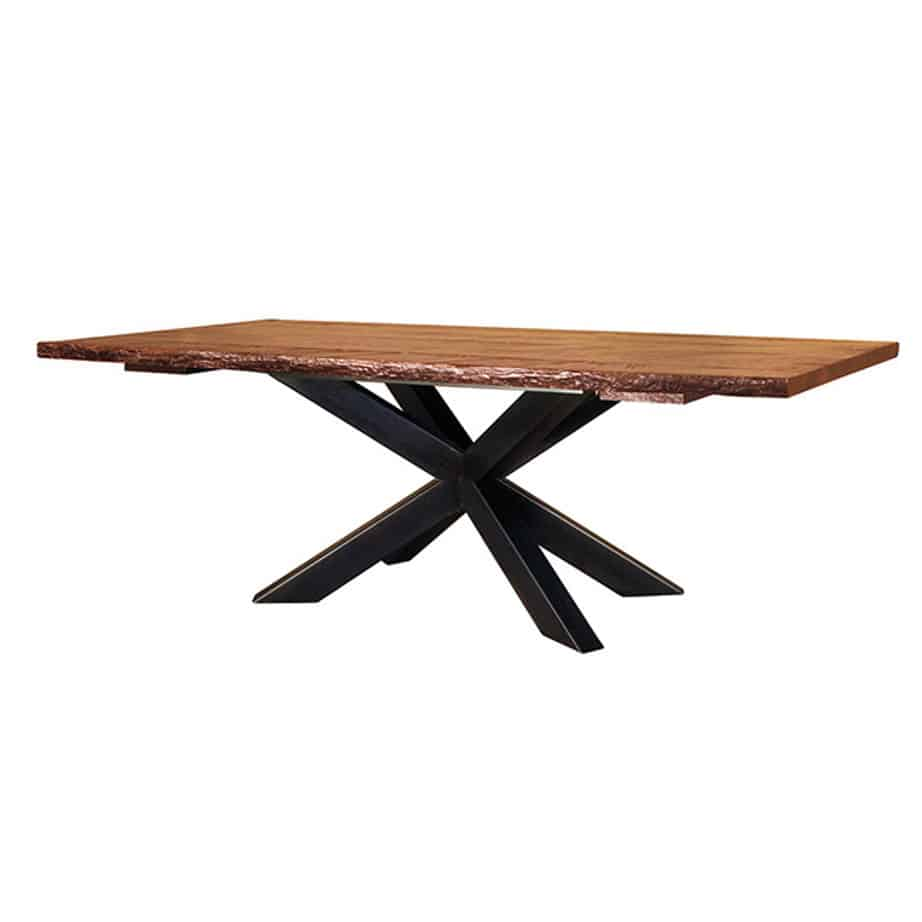 Hedgehog live edge table, ruff sawn, custom dining table, rustic table, solid wood table, Canadian made table, farmhouse table, distressed table, metal base, live edge