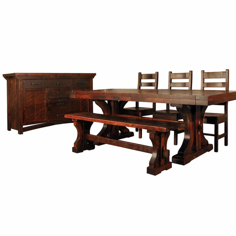 solid wood dining room rustic carlisle dining room, solid wood table, custom dining table, solid wood chairs, canadian made dining room