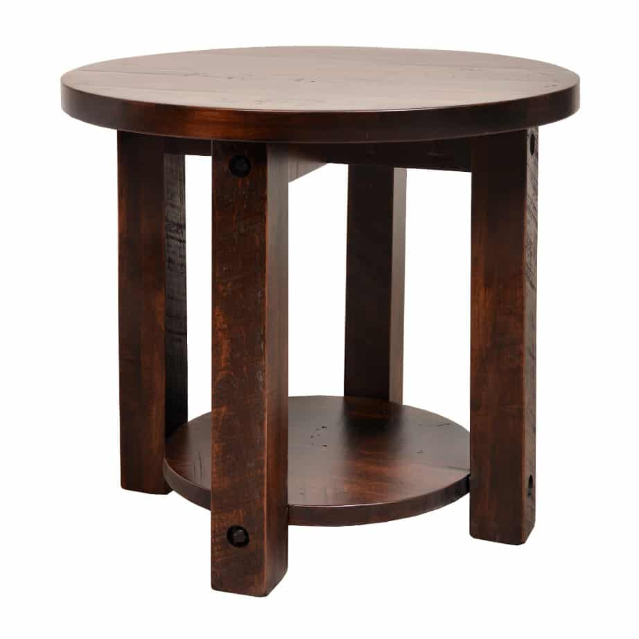 coffee table, solid wood, rustic maple, ruff sawn, modern, urban, contemporary, adirondack round end table