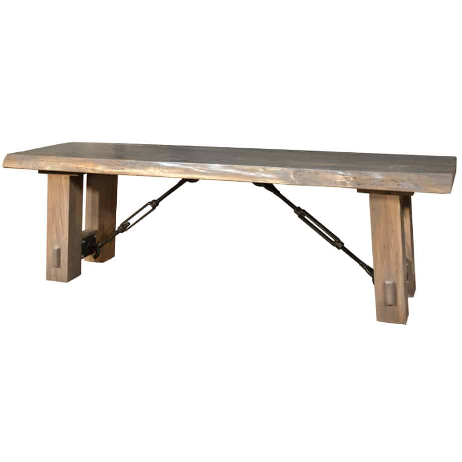 solid wood, bench, rustic wood, table bench, custom bench, Canadian made, made in canada, metal details, urban wood, reclaimed wood, benchmark live edge bench