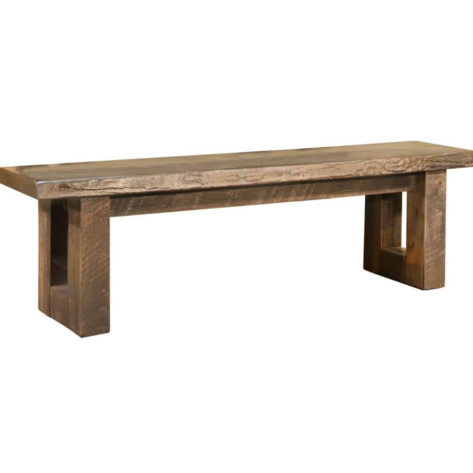 modelli live edge bench, solid wood, bench, rustic wood, table bench, custom bench, Canadian made, made in canada, metal details, urban wood, reclaimed wood, model live edge bench