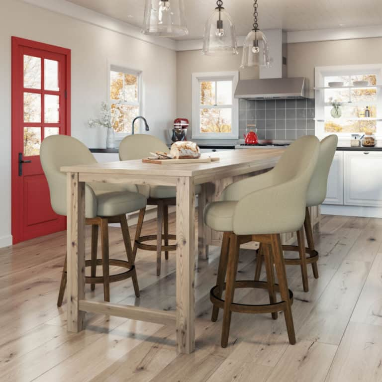 amsico collin stool with wood swivel base in kitchen at island